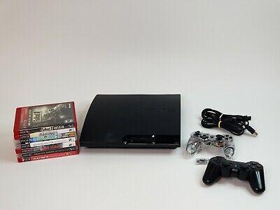Sony PlayStation 3 Slim 160GB CECH-2501A Black Console Bundle w/7 Games