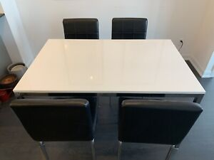 Dining Kitchen Table Set Plus Chairs Leather