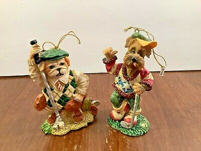 2 Vintage Dogs w/Golf Clubs Christmas Tree Hanging Ornaments Figurines