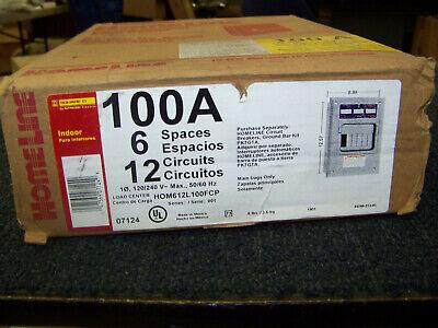 Square D Homeline 100 Amp Load Center 6 Spaces 12 Circuit 120240v Hom612l100fcp