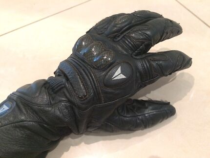 Dainese Leather Motorcycle Gloves with Carbon Fibre Protection