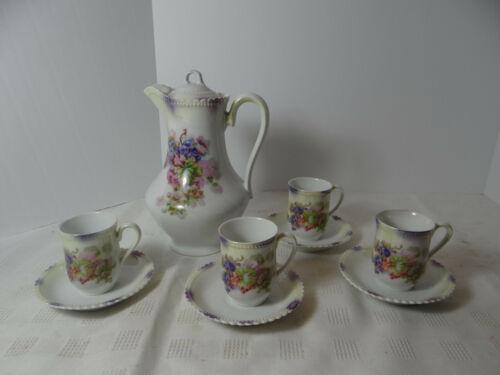 P K Silesia Tea Set Tea Pot 4 Cups Saucers Blueberry Design