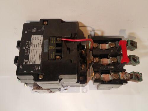 Square D 8536SF01V02S, ser. A, size 4 motor starter, 110/120VAC coil