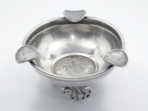 FANCY FOOTED 1922 Colombia 50 Centavos COIN STERLING SILVER ASHTRAY 55.8g