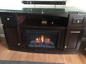 Media console with electric fireplace