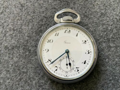 Swiss Made Geneva 15 Jewels Mechanical Wind Up Vintage Pocket Watch