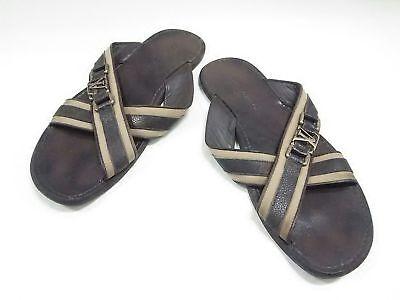 Auth LOUIS VUITTON DarkBrown Beige Leather &  Cotton Sandals Men