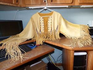 Authentic Native American Buckskin beaded Lumi Nation womans shirt