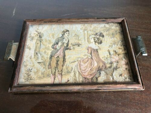 ANTIQUE VINTAGE WOODEN BUTLERS SERVING DINNER/TEA TRAY GLASS TOP WITH TAPESTRY