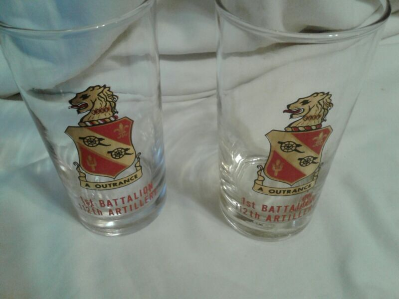 Set 2 Vtg Glass Military Glass Tumblers 1st BATTALION 112th ARTILLERY A Outrance