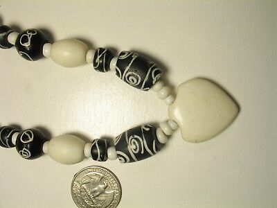 "Antique Black & White ZEN Venetian Trade Bead & Stone Heart Pendant Necklace 29"""