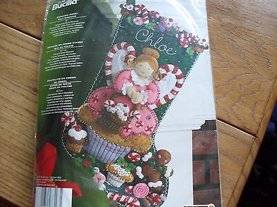 "BUCILLA FELT CHRISTMAS STOCKING EMBROIDERY KIT NIP 18"" CUPCAKE ANGEL # 86207"