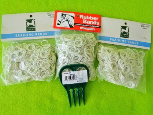 3 Packs 500~1500 WHITE Elactic Rubber Band MANE~Tail Braid Braiding BANDS & COMB