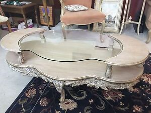 Vintage glass & wood coffee tables-set of 3