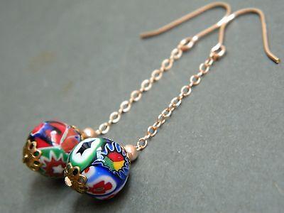 Vintage 1950s Murano Venetian MILLEFIORI Glass Beads & Rolled ROSE Gold Earrings