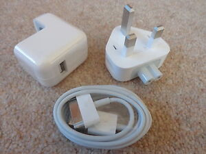 GENUINE APPLE IPAD 1 2 & 3 IPHONE 4 4S 3GS 10W 10 WATT CHARGER POWER LEAD A1357