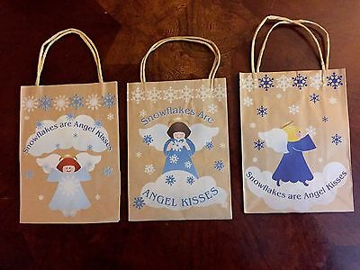 Snowflake Angel Gift Bag set of 3, Natural looking, country, $10=Free Shipping ()