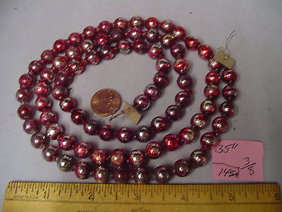"Christmas Garland Mercury Glass Red-Purple 35"" Long 5/16"" Beads #146A Vintage"