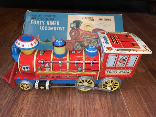 Forty Niner Locomotive Battery Operated Tin Train # 1732 W/Box Vintage