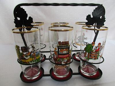 Schmiedeeisen-Gestell + 6 Spass- Trinkgläser mit Goldrand