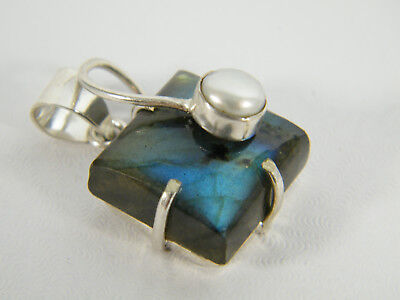 PENDANT:  RARE PRINCESS CUT (20X20MM) LABRADORITE WHITE PEARL (8MM) DETAILING