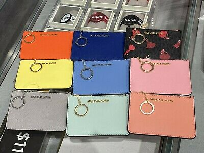 NWT Michael Kors Jet Set Travel Coin Key Chain Card Holder Wallet
