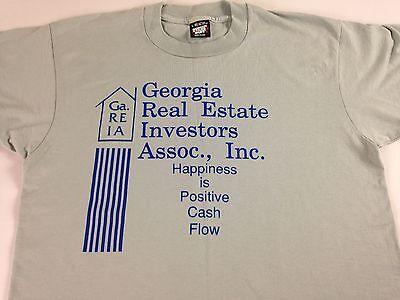 Georgia Real Estate Investors Shirt Vtg 90S M L Happiness Is Positive Cash Flow