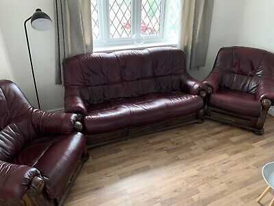 Leather Three Piece Suite Maroon/red Used