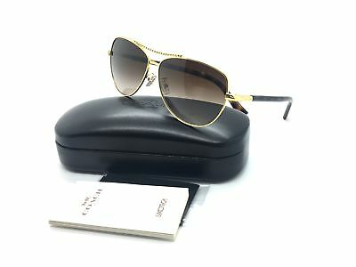 Coach Women Gold Aviator Sunglasses HC 7058 3N 923813 60 Metal Brown lens