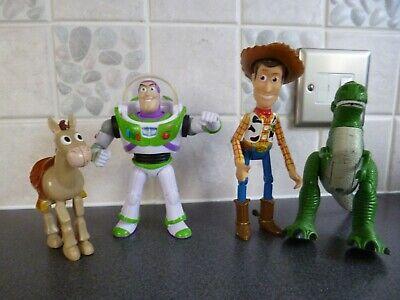 """4 x Toy Story figures - Woody 6"""", Rex 5.5"""", Buzz 5.5"""" & Bullseye - clean"""