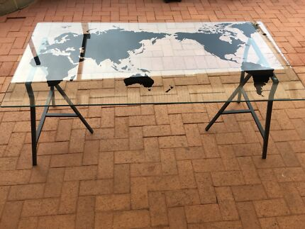 World map in palmyra 6157 wa desks gumtree australia free ikea glass world map desk gumiabroncs Gallery