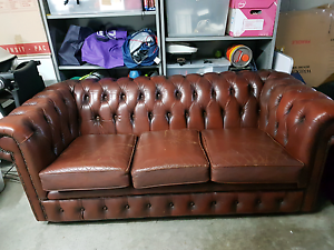 2 Chesterfield Style lounger AND leather ottoman Pagewood Botany Bay Area Preview