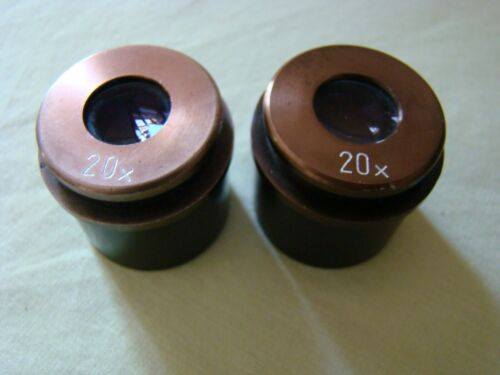 PAIR 20X STEREO MICROSCOPE EYEPIECES 30MM TUBE DIAMETER