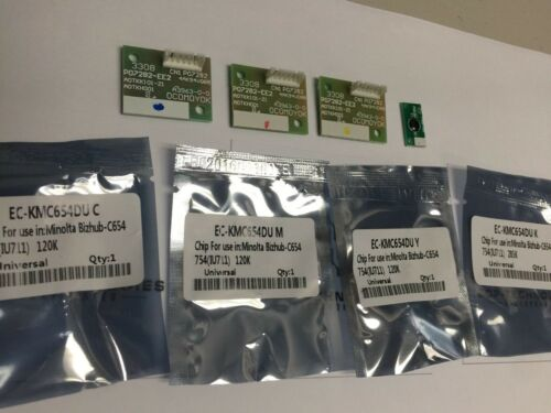 4x Drum Unit Chip Konica Minolta Bizhub C654 C654e C754 C754e DR-711 RESET DRUM