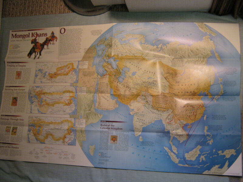 THE MONGOLS & THEIR LEGACY WALL MAP National Geographic December 1996 MINT