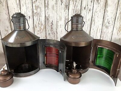 Dark Antique Finish Port & Starboard Lanterns ~ Nautical Oil Lamps ~ Ship Light