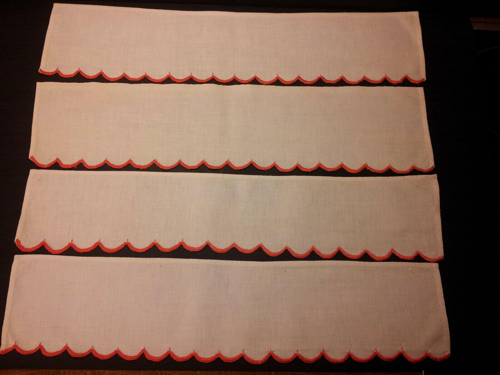 4 SCHRANKBÄNDER Wäschebänder Weiß mit roter Bogenkante