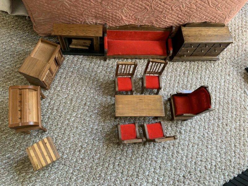 Vintage Wooden Dollhouse Furniture Lot Living Room Chairs, Table,Fireplace