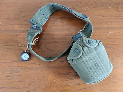 Vintage WW2 1945 Army Canteen And Belt + COMPASS