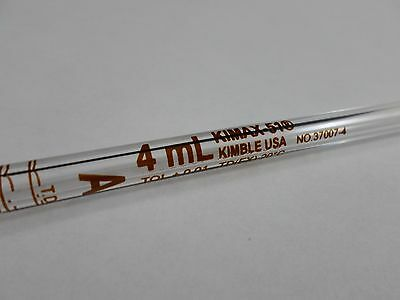 Kimble Kimax-51glassbulb Reusable Tdtc 4ml Volumetric Pipette Pipet 37007-4
