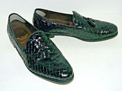 ALLEN EDMONDS Black Palm Beach Woven Leather Loafers 14M / 46eu Great -