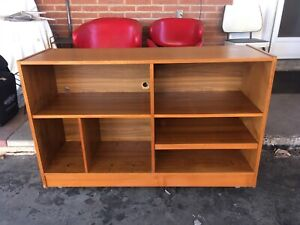 Teak media cabinet on casters - good condition!