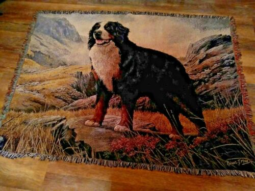 """Bernese Mt Dog Woven Tapestry Throw 70x54"""" Pure Country Weavers Robert May EUC"""