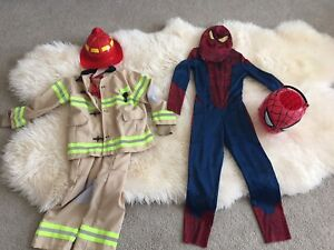Fireman and Spiderman Costumes size 7-8 yrs