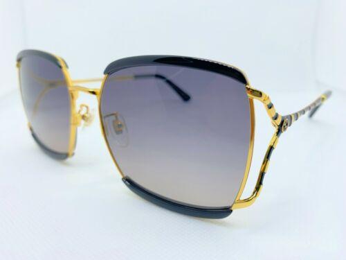 New Authentic Gucci  GG0593SK 001 Gold/Black w/Grey gradient Woman Sunglasses