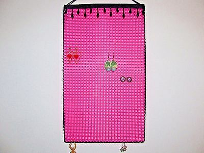 Hanging Earring Holder Organizer  Black Beads On Hot Pink