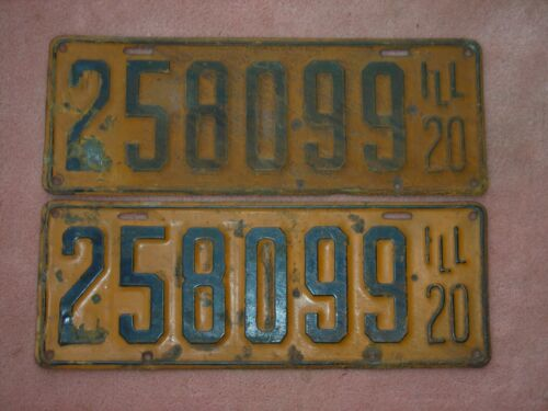 1920 Illinois license plate pair. Orig paint