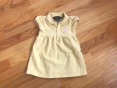 Ralph Lauren Polo 9 Months Baby Girls Yellow Dress Large Emblem Horse Pink