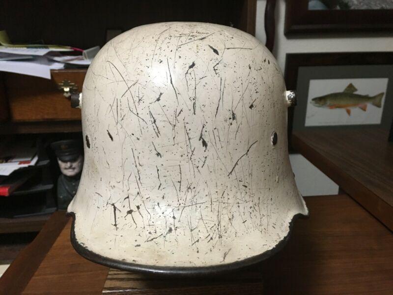WW1 German M16/17 White Camouflage Helmet with Italian M33 liner.