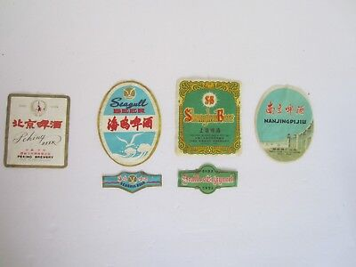 4 Beer Bottle Labels from the Peoples Republic of China, Seagull Peking Shanghai